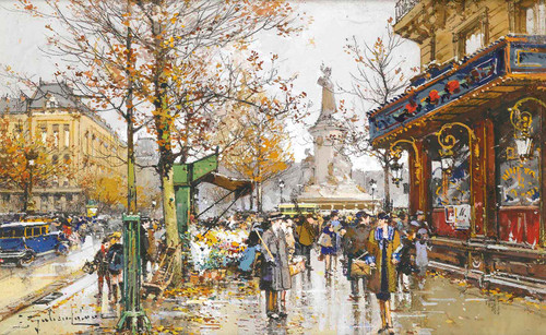 Place De La Republique by Eugene Galien Laloue