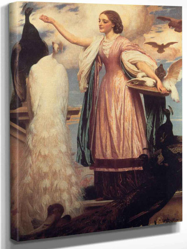 A Girl Feeding Peacocks By Sir Frederic Lord Leighton