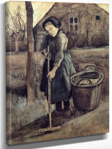 A Girl Raking By Jose Maria Velasco