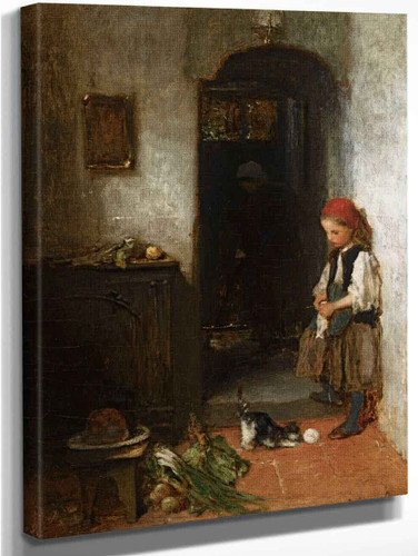 A Girl With A Playing Kitten By Jacob Henricus Maris