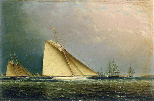 Puritan Racing Off Of Staten Island By James E. Buttersworth