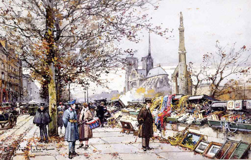 Quay On The Seine By Eugene Galien Laloue