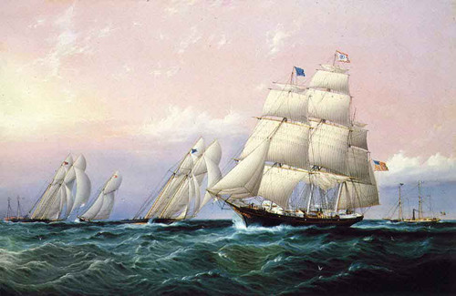 Racing Off Sandy Hook1 By James E. Buttersworth