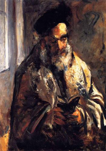 A Jewish Man In His Prayer Shawl By Lesser Ury