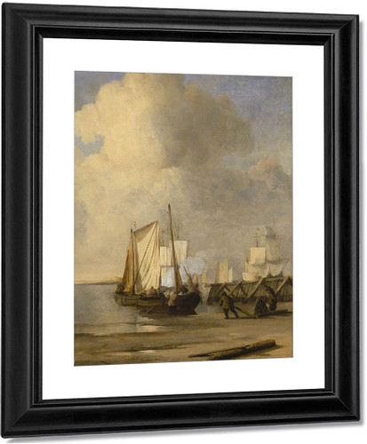 A Kaag Coming Ashore Near A Groyne With Ships And Vessels Under Sail Beyond By Willem Van De Velde The Younger