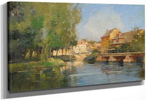 River Landscape With City View By Eugene Galien Laloue