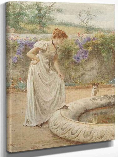 A Lady And Her Dog Looking Into A Fish Pond By George Goodwin Kilburne By George Goodwin Kilburne
