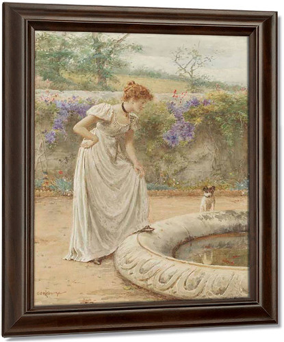 A Lady And Her Dog Looking Into A Fish Pond By George Goodwin Kilburne