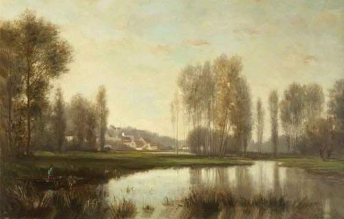 River Scene By Stanislas Lepine