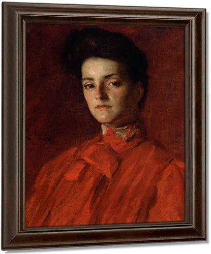 A Lady In Red By William Merritt Chase