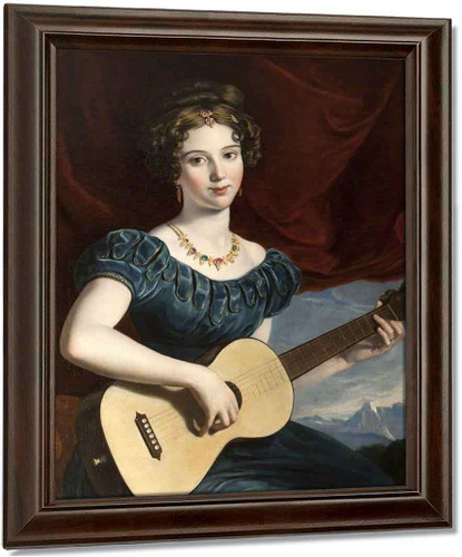 A Lady Of The Petre Family Playing The Guitar By Joseph Karl Stieler