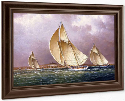 Sailing In Boston Harbor By James E. Buttersworth
