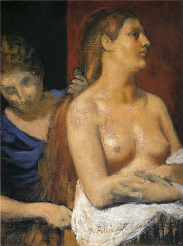 A Maid Combing A Woman's Hair By Pierre Puvis De Chavannes