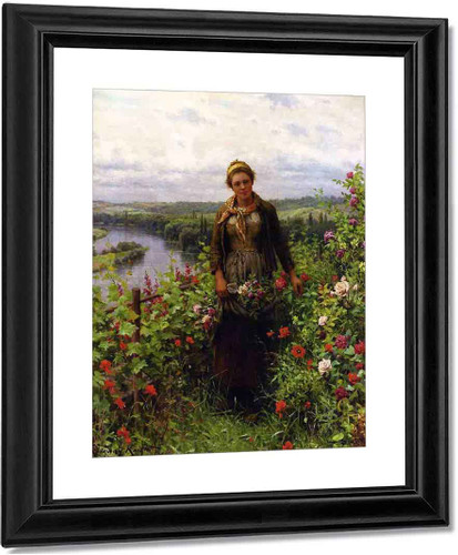 A Maid In Her Garden By Daniel Ridgway Knight By Daniel Ridgway Knight