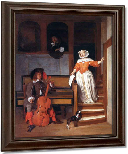 A Man Tuning A Violoncello And A Woman Descending The Stairs By Gabriel Metsu