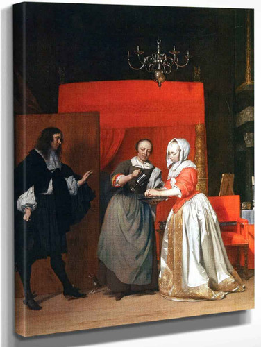 A Man Visiting A Woman Washing Her Hands By Gabriel Metsu