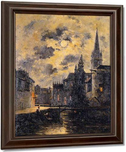A Moonlit Canal By Stanislas Lepine