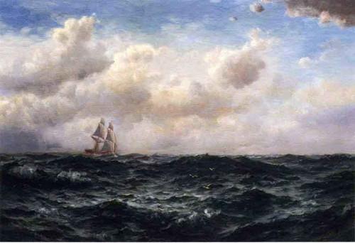 Ship At Sea By Edward Moran
