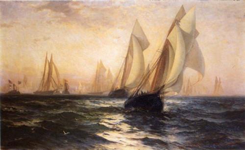 Ships In Harbor By Edward Moran