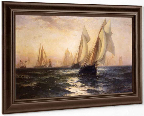 Ships In Harbor By Edward Moran