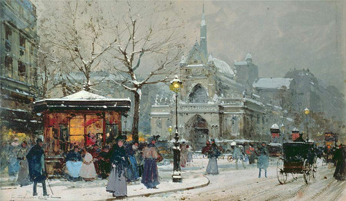 Snow Scene In Paris By Eugene Galien Laloue