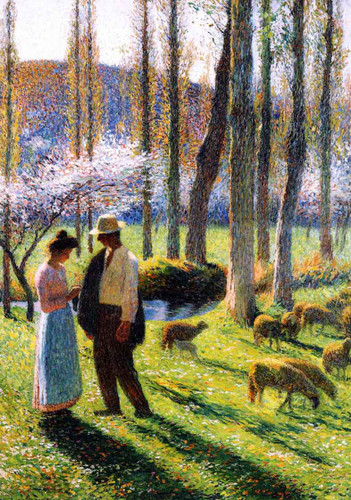 A Peasant And Shepherdess By Henri Martin