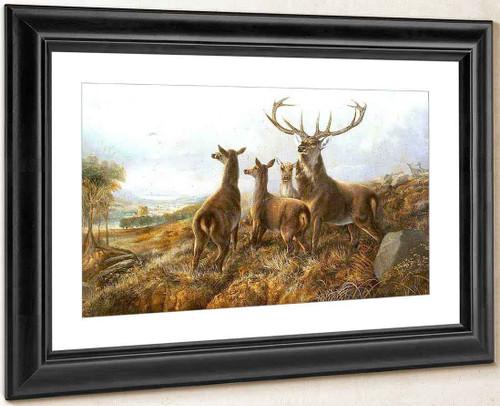 Startled Deer In A Landscape By Richard Ansdell