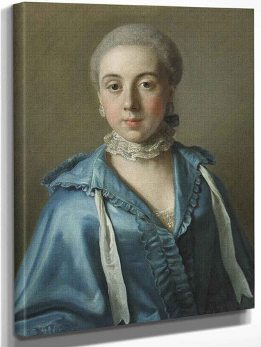 A Portrait Of A Lady With A Blue Dress And Lace Collar By Jean Etienne Liotard