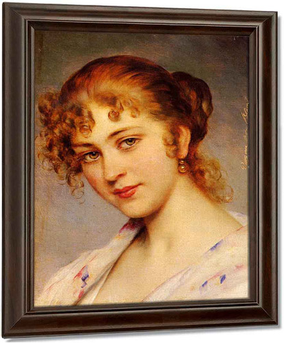 A Portrait Of A Young Lady By Eugene De Blaas
