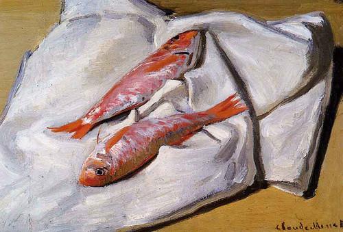 Still Life Red Mullets By Claude Oscar Monet