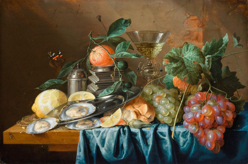Still Life With Oysters And Grapes By Jan Davidszoon De Heem By Jan Davidszoon De Heem