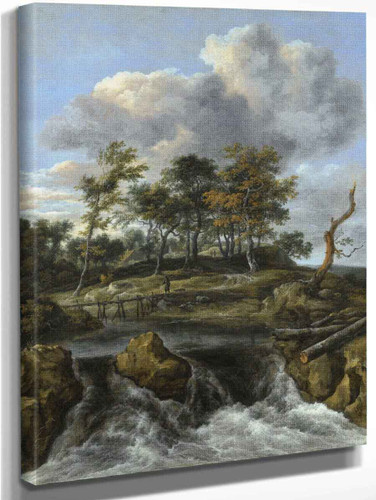 A River Landscape With A Man Crossing A Bridge Above A Waterfall By Jacob Van Ruisdael