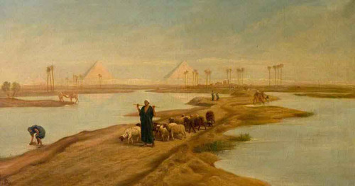The Ancient Causeway To The Pyramids, Egypt By Frederick Goodall