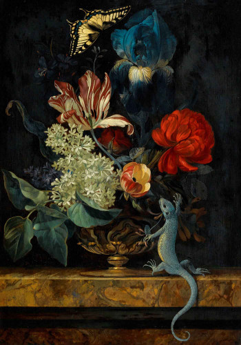 A Still Life With Tulips And Other Flowers In A Vase By Willem Van Aelst By Willem Van Aelst