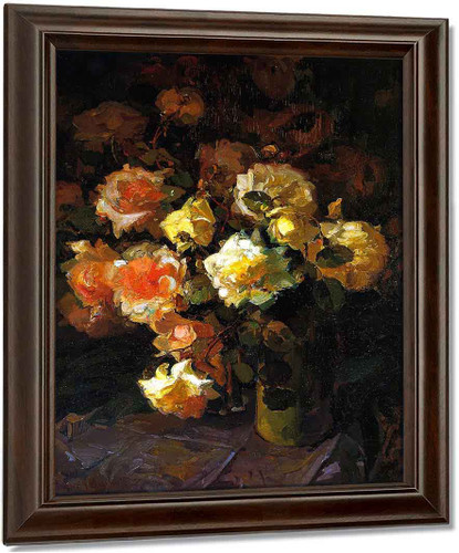 A Tapestry Of Roses By Franz Bischoff