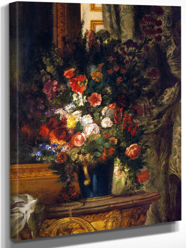 A Vase Of Flowers On A Console By Eugene Delacroix By Eugene Delacroix