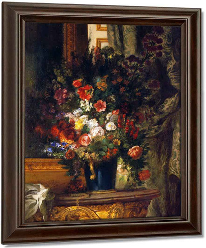 A Vase Of Flowers On A Console By Eugene Delacroix