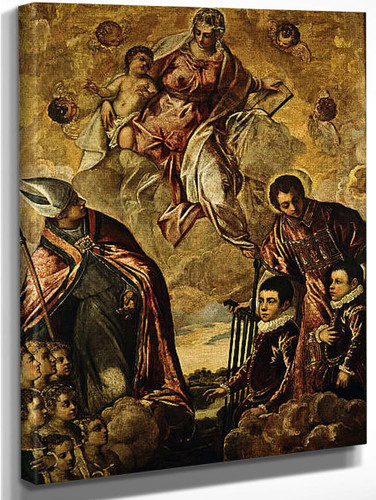 A Venetian Family Presented To The Virgin By Saint Lawrence And A Bishop Saint By Jacopo Tintoretto