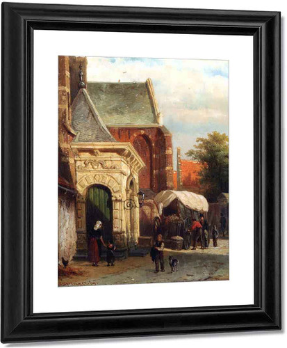 A View Of The South Entrance Of The St. Pancras Church, Enkhuizen By Cornelius Springer