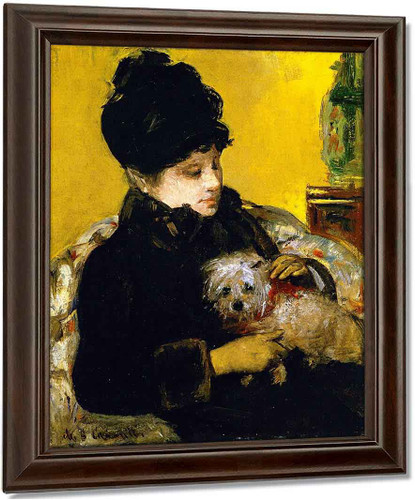 A Visitor In Hat And Coat Holding A Maltese Dog By Mary Cassatt