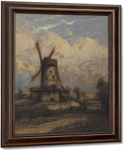 A Windmill Against A Cloudy Sky By Constant Troyon
