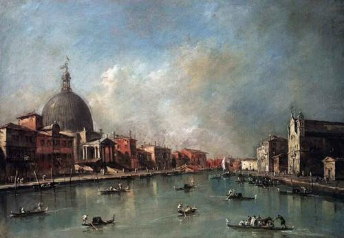 The Grand Canal And San Simeone Piccolo By Francesco Guardi