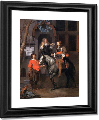 A Woman Filling The Glass Of A Cavalier On Horseback By Gabriel Metsu