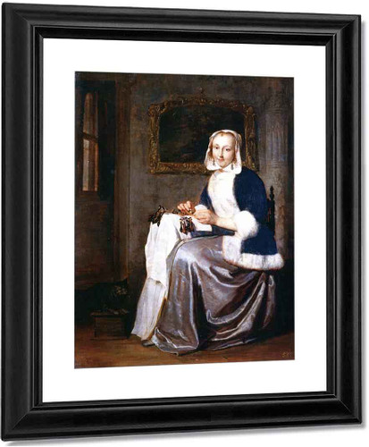 A Woman Making Lace By Gabriel Metsu