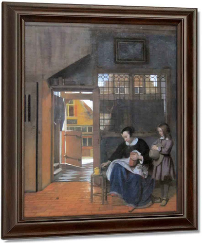 A Woman Preparing Bread And Butter For A Boy By Pieter De Hooch Oil on Canvas Reproduction