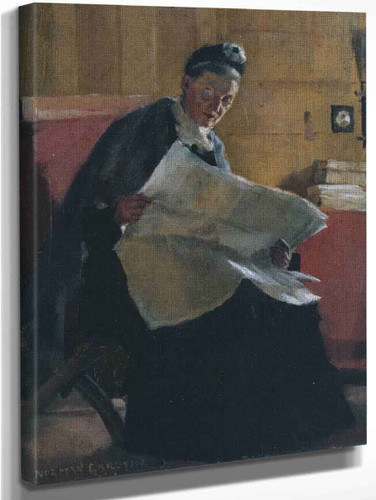 A Woman Reading A Newspaper By Norman Garstin