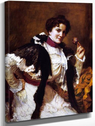 A Woman With A Posy By Frederick Arthur Bridgman