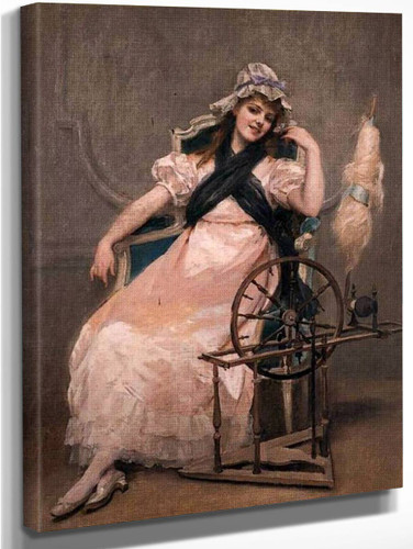 A Young Beauty At A Spinning Wheel By Madeleine Jeanne Lemaire