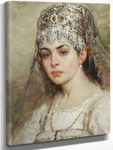 A Young Girl By Konstantin Yegorovich Makovsky