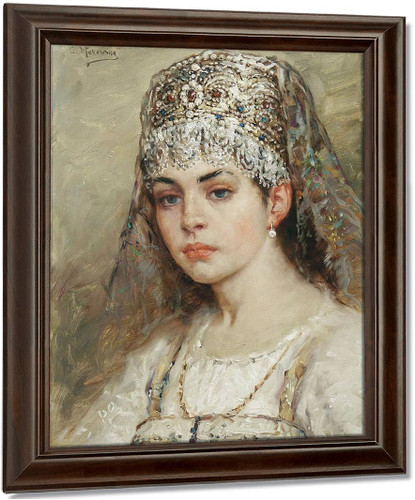 A Young Girl By Konstantin Yegorovich Makovsky Oil on Canvas Reproduction
